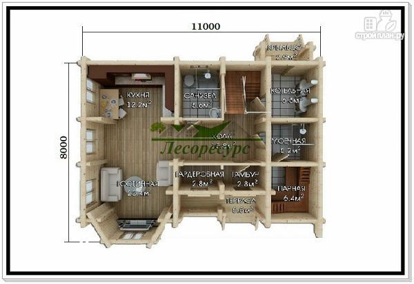 Фото 3: проект дом из бревна с мансардой и эркером