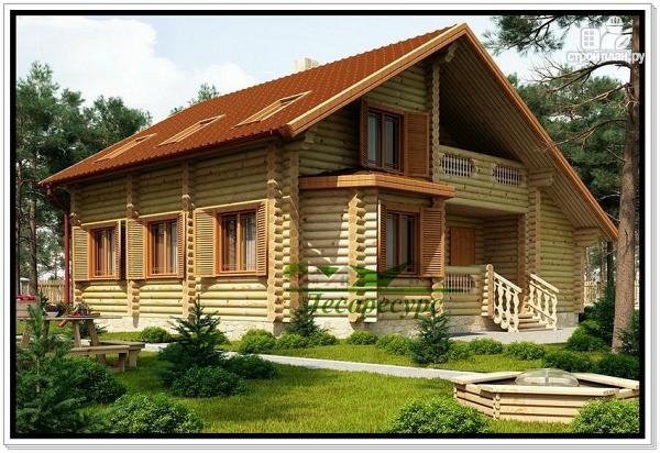 Фото 2: проект дом из бревна с мансардой и эркером