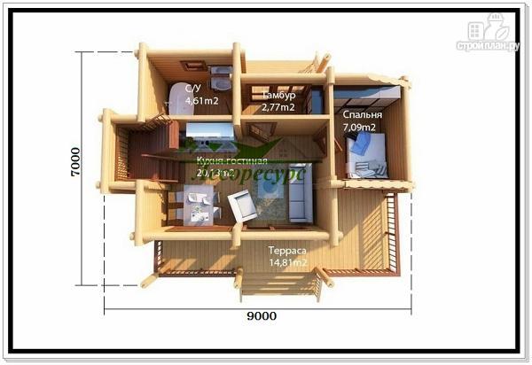 Фото 2: проект небольшой дом из бревна
