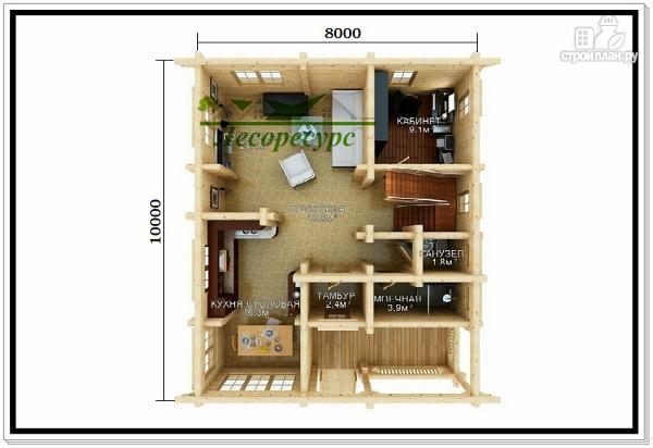 Фото 2: проект двухэтажный дом из бревна