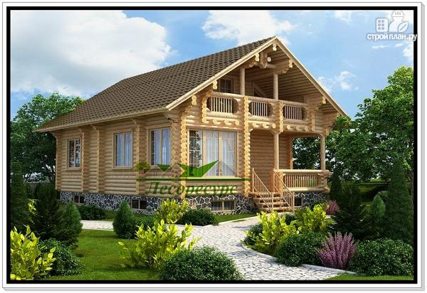 Фото: проект двухэтажный дом из бревна