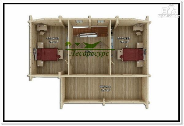 Фото 3: проект дом из бревен с мансардой