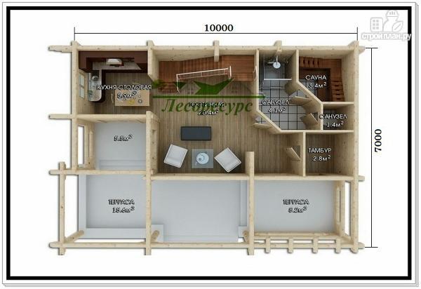 Фото 2: проект дом из бревен с мансардой