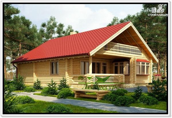 Фото: проект дом из бревна с террасой