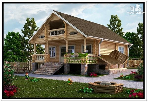 Фото: проект современный дом из бревна