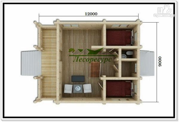 Фото 2: проект современный дом из бревна