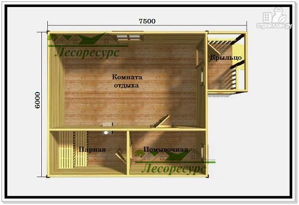 Фото 2: проект баня из бруса с комнатой отдыха