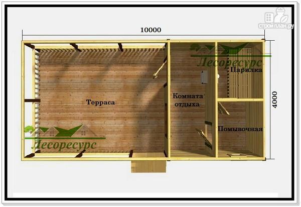 Фото 2: проект баня с просторной террасой