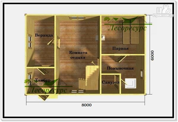 Фото 2: проект двухэтажная баня с балконом
