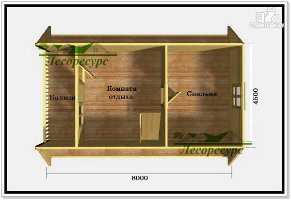 Фото 3: проект двухэтажная баня с балконом