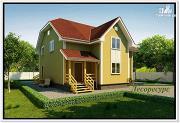 Фото: каркасный дом с двумя входами