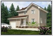 Проект каркасный дом с гаражом