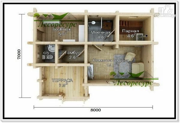 Фото 2: проект баня из бревна 7 на 8