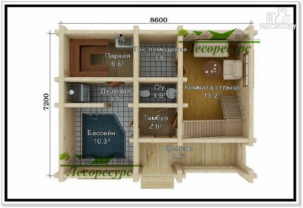 Фото 2: проект двухэтажный дом-баня с бассейном