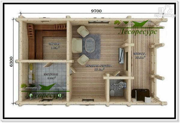 Фото 2: проект баня из бревна с комнатой отдыха
