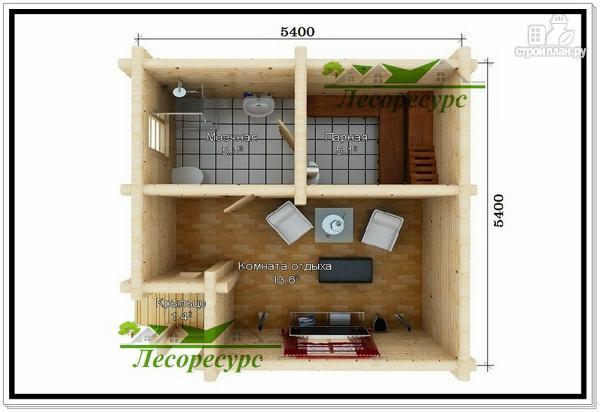 Фото 2: проект баня из бревна 5,4 на 5,4