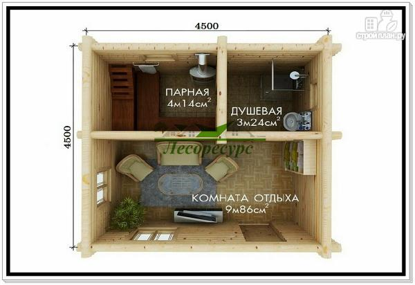 Фото 2: проект баня из бревна 4,5 на 4,5