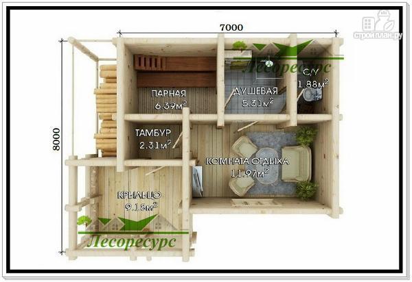 Фото 2: проект баня из бревна с дровяником