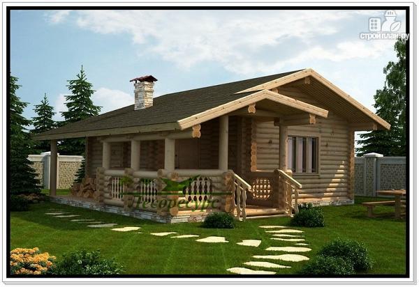 Фото: проект баня из бревна с дровяником