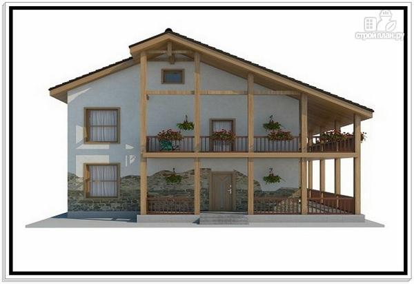 Фото 2: проект дом из пеноблоков с большой террасой