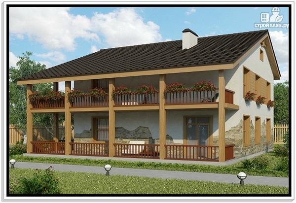 Фото: проект дом из пеноблоков с большой террасой