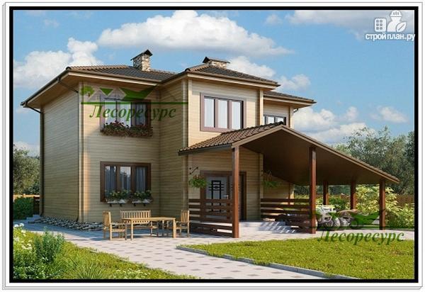 Фото: проект дом с навесом и мансардой