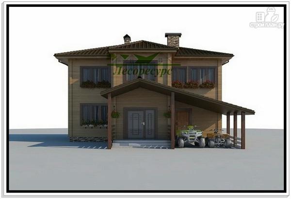 Фото 2: проект дом с навесом и мансардой