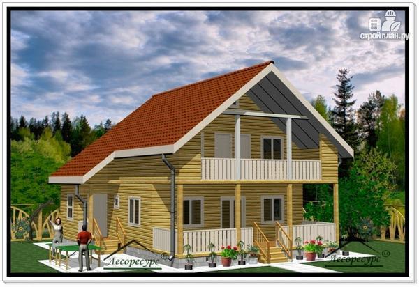Фото: проект дом 9 на 10 из бруса с балконом