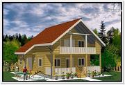 Проект дом 9 на 10 из бруса с балконом