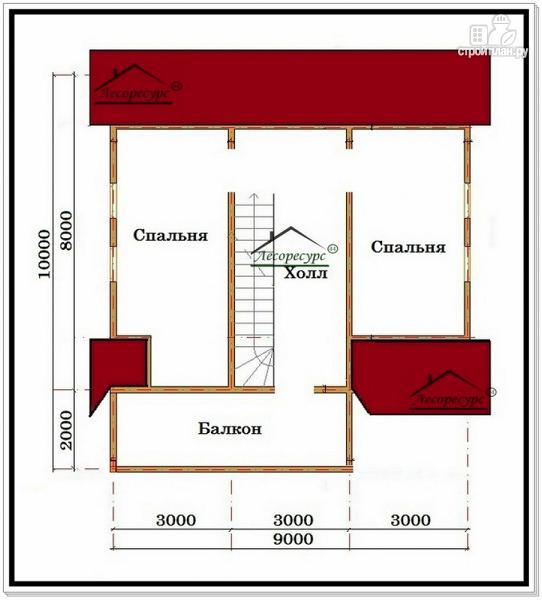 Фото 3: проект деревянный дом 9 на 10 из бруса с балконом