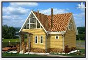 Фото: деревянный дом 9 на 10 из бруса с балконом
