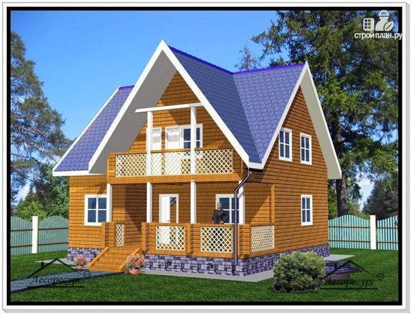 Фото: проект дом из бруса 9 на 9 с мансардой