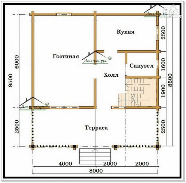 Фото 2: проект дом из бруса 8 на 8 с балконом и террасой