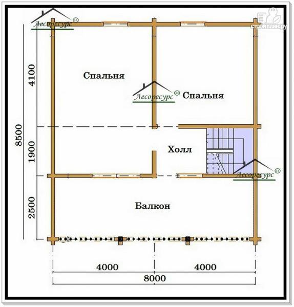 Фото 3: проект дом из бруса 8 на 8 с балконом и террасой