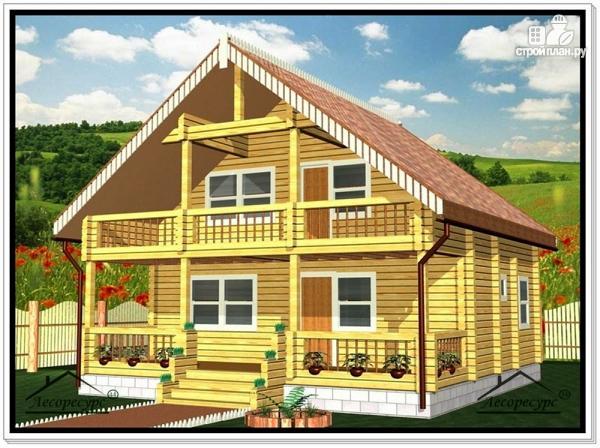 Фото: проект дом из бруса 8 на 8 с балконом и террасой