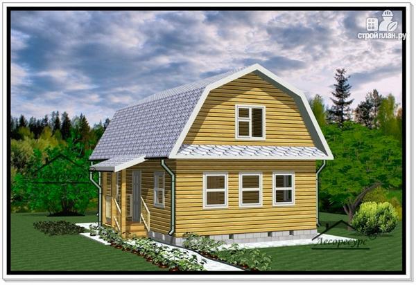 Фото 2: проект дом из бруса 6 на 9 с ломаной крышей
