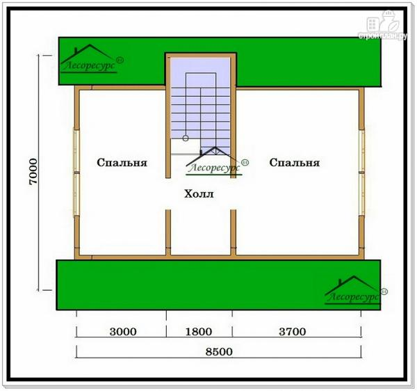 Фото 3: проект дом из бруса 8 на 10 с двускатной крышей
