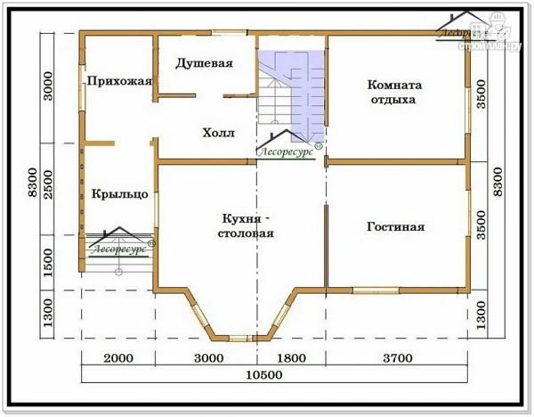Фото 2: проект дом из бруса 8 на 10 с двускатной крышей