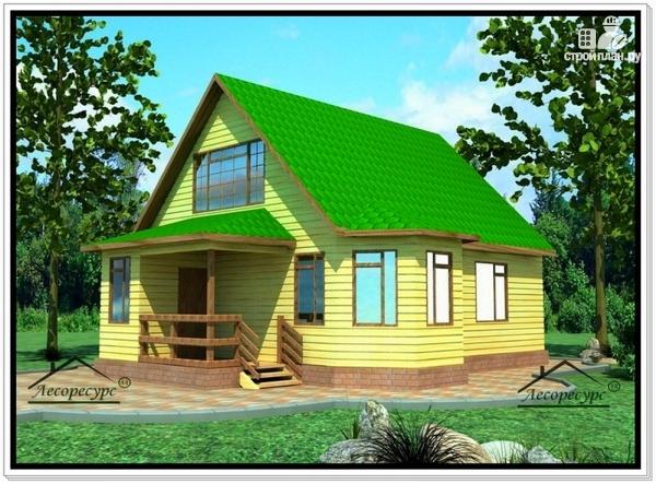Фото: проект дом из бруса 8 на 10 с двускатной крышей