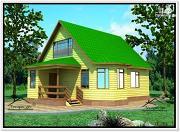Фото: дом из бруса 8 на 10 с двускатной крышей