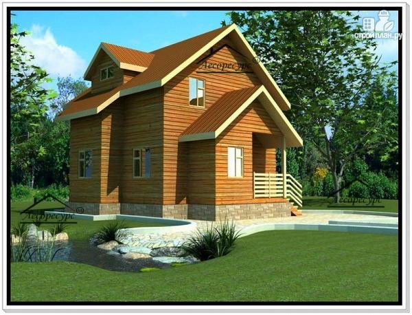 Фото: проект деревянный дом из бруса 7 на 7 с мансардой