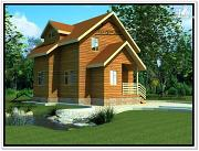 Фото: деревянный дом из бруса 7 на 7 с мансардой