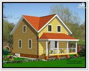 Фото: дом из бруса 7 на 10 с мансардой