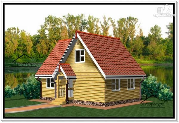 Фото 2: проект дом из бруса 6 на 9 с мансардой и балконом