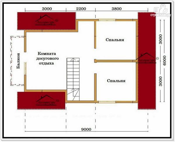 Фото 6: проект дом из бруса 6 на 9 с мансардой и балконом