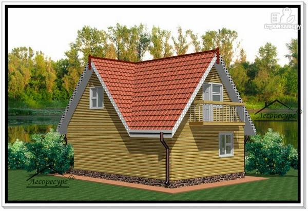Фото 3: проект дом из бруса 6 на 9 с мансардой и балконом