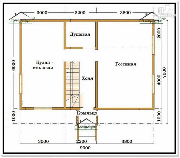 Фото 5: проект дом из бруса 6 на 9 с мансардой и балконом