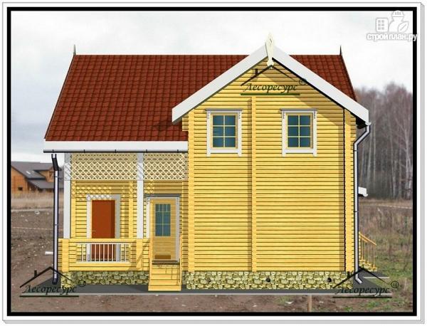 Фото 3: проект дом из бруса 9 на 10 с террасой и мансардой
