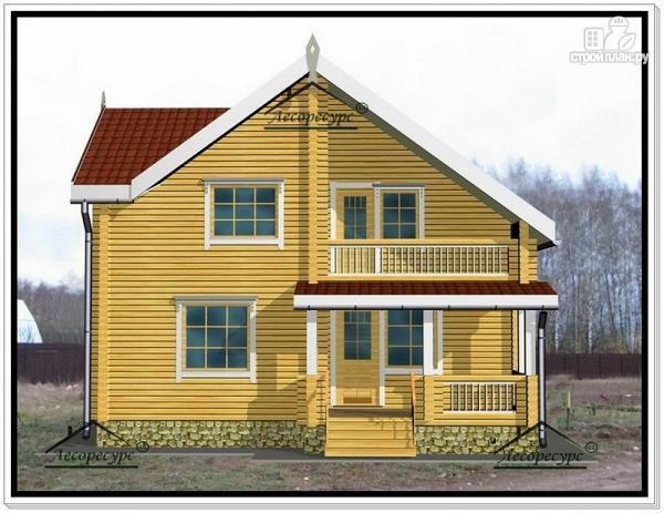 Фото 2: проект дом из бруса 9 на 10 с террасой и мансардой
