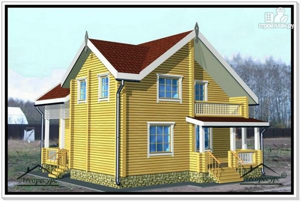 Фото: проект дом из бруса 9 на 10 с террасой и мансардой